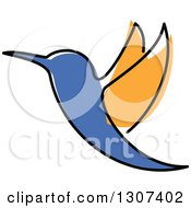 Clipart Of A Sketched Orange And Blue Hummingbird Flying Royalty Free Vector Illustration