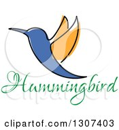 Clipart Of A Sketched Orange And Blue Hummingbird Over Text Royalty Free Vector Illustration