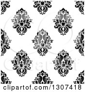 Clipart Of A Seamless Pattern Background Of Vintage Damask In Black On White 2 Royalty Free Vector Illustration by Vector Tradition SM