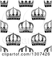 Clipart Of A Seamless Background Pattern Of Black And White Ornate Crowns 5 Royalty Free Vector Illustration