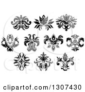 Clipart Of A Black And White Vintage Floral Design Elements 11 Royalty Free Vector Illustration by Vector Tradition SM