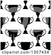 Clipart Of A Seamless Background Pattern Of Black And White Silhouetted Urns Or Trophies 2 Royalty Free Vector Illustration