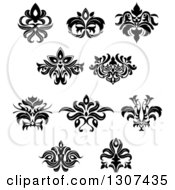 Clipart Of A Black And White Vintage Floral Design Elements 10 Royalty Free Vector Illustration by Vector Tradition SM