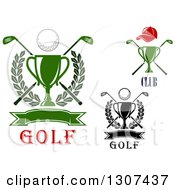 Clipart Of Championship Trophies With Golf Balls Crossed Clubs Leafy Wreaths Hats And Blank Banners Royalty Free Vector Illustration