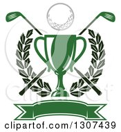 Clipart Of A Green Championship Trophy With A Golf Ball Crossed Clubs Leafy Wreath And Blank Banner Royalty Free Vector Illustration by Vector Tradition SM