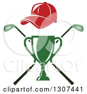 Clipart Of A Green Championship Trophy With Red Hat Over Crossed Clubs Royalty Free Vector Illustration by Vector Tradition SM