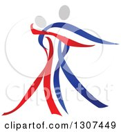 Clipart Of A Red Blue And White Ribbon Couple Dancing Royalty Free Vector Illustration