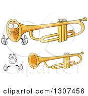 Clipart Of A Cartoon Face Hands And Trumpets Royalty Free Vector Illustration