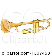 Clipart Of A Cartoon Trumpet Royalty Free Vector Illustration by Vector Tradition SM