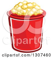 Clipart Of A Cartoon Red Popcorn Bucket Royalty Free Vector Illustration by Vector Tradition SM