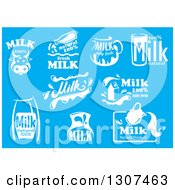 Clipart Of White Milk Designs On Blue 3 Royalty Free Vector Illustration by Vector Tradition SM