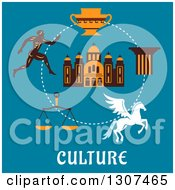 Clipart Of A Flat Design Of Greek Cultural Items Over Text On Blue Greek Runner Capital On A Column Pegasus Amphora Scales And Temple Royalty Free Vector Illustration