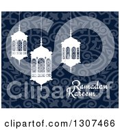 Clipart Of A Ramadan Kareem Greeting With White Lanterns Over A Blue Pattern 2 Royalty Free Vector Illustration by Vector Tradition SM