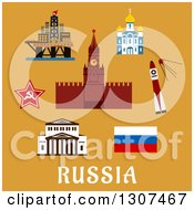 Clipart Of Flat Design Russian Travel Icons And Symbols With Big Theater Kremlin Temple Rocket And Satellite Star Oil Rig And Flag With Text On Orange Royalty Free Vector Illustration