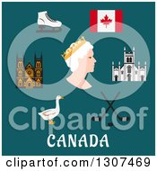 Clipart Of Flat Design Canadian Travel Symbols Depicting The Queen Commonwealth Ice Skates And Ice Hockey Flag Landmarks And Goose Over Text On Blue Royalty Free Vector Illustration by Vector Tradition SM