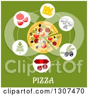 Clipart Of A Flat Design Of A Pizza And Ingredients Over Text On Green Royalty Free Vector Illustration