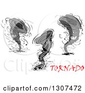 Clipart Of Cartoon Aggressive Tornado Characters With Red Text Royalty Free Vector Illustration by Vector Tradition SM