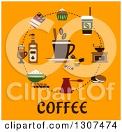Clipart Of A Circle Of Coffee Items Over Text On Orange Royalty Free Vector Illustration