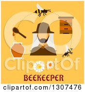 Clipart Of A Beekeeper Bees And Hive In A Circle Over Text On Yellow Royalty Free Vector Illustration