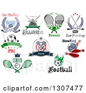 Hockey Billiards Tennis Ice Hockey Soccer Darts Bowling Tennis And Soccer Sports Designs With Text