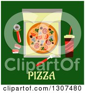 Clipart Of A Flat Design Of A Pizza Delivery Box Over Text On Green Royalty Free Vector Illustration