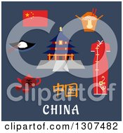 Clipart Of Flat Design China Travel Icons National Flag Woman Kimono Tea Kettle With Cups Bowl With Rice And Chopstick Noodle Box And Ancient Temple Of Heaven Over Text On Blue Royalty Free Vector Illustration