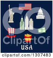 Clipart Of Flat Design American Travel Items Of The Flag Of USA Statue Of Liberty Capitol Building Skyscrapers Hat Dollars Fast Food Box With French Fries Royalty Free Vector Illustration