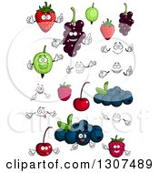 Clipart Of Cartoon Strawberry Currants Gooseberry Strawberry And Raspberry Characters Faces And Hands Royalty Free Vector Illustration
