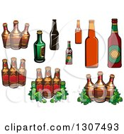 Clipart Of Hops And Beer Bottles Royalty Free Vector Illustration by Vector Tradition SM