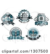 Clipart Of Blue Nautical Life Buoy Helm Trident Lighthouse And Anchor Designs With Text Royalty Free Vector Illustration