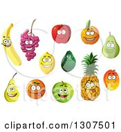 Clipart Of Cartoon Happy Produce Characters Royalty Free Vector Illustration