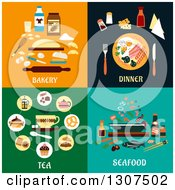 Clipart Of Flat Modern Bakery Dinner Tea And Seafood Designs Royalty Free Vector Illustration by Vector Tradition SM