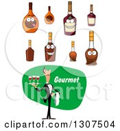 Clipart Of A Cartoon Male Waiter Serving Red Wine With Bottles Royalty Free Vector Illustration by Vector Tradition SM