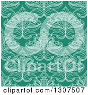 Clipart Of A Seamless Pattern Background Of White Lotus Henna Flowers On Green Royalty Free Vector Illustration