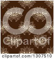 Clipart Of A Seamless Pattern Background Of Beige Lotus Henna Flowers On Brown Royalty Free Vector Illustration