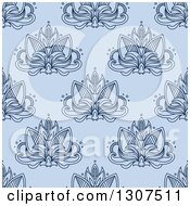 Clipart Of A Seamless Pattern Background Of Navy Lotus Henna Flowers On Blue Royalty Free Vector Illustration