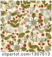 Clipart Of A Seamless Background Pattern Of Doodled Strawberry Blossoms Plants And Berries Over Beige Royalty Free Vector Illustration