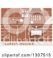 Clipart Of A Brown Kitchen Interior With Sample Text 3 Royalty Free Vector Illustration