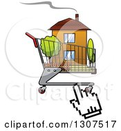 Clipart Of A Hand Computer Cursor Clicking On A House In A Shopping Cart Royalty Free Vector Illustration by Vector Tradition SM