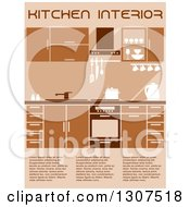 Clipart Of A Brown Kitchen Interior With Sample Text 2 Royalty Free Vector Illustration
