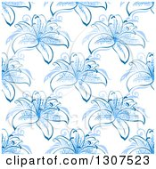 Clipart Of A Seamless Background Pattern Of Blue Lily Flowers Royalty Free Vector Illustration