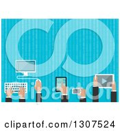 Clipart Of Flat Design Business Men Hands Using Gadgets With Binary Coding Over Blue Royalty Free Vector Illustration by Vector Tradition SM