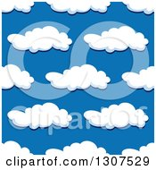 Clipart Of A Seamless Pattern Background Of Puffy Clouds In A Blue Sky 6 Royalty Free Vector Illustration by Vector Tradition SM