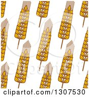 Clipart Of A Seamless Background Patterns Of Gold Wheat On White 3 Royalty Free Vector Illustration
