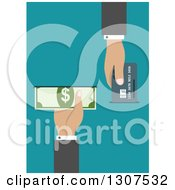 Clipart Of A Flat Design Of Hands Inserting A Credit Card And Cash In An Atm Over Blue Royalty Free Vector Illustration