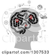 Silhouetted Head Showing The Thought Processes Of A Human Brain Depicted As A Highway