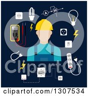 Poster, Art Print Of Flat Design White Male Electrician With Equipment On Navy Blue