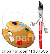Clipart Of A Cartoon Paintbrush Character Pointing To A Palette Royalty Free Vector Illustration by Vector Tradition SM