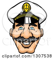 Clipart Of A Cartoon Happy Mustached Captains Face Royalty Free Vector Illustration