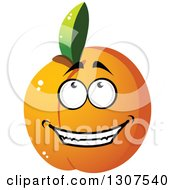 Clipart Of A Cartoon Peach Apricot Or Nectarine Character Royalty Free Vector Illustration